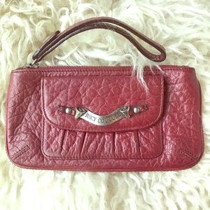 Juicy Couture Burgundy Zipper Leather Wristlet